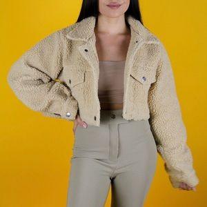 Jackets & Blazers - Teddy bear nude cropped jacket